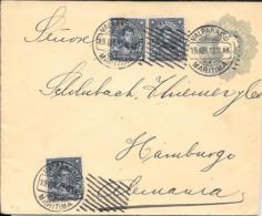 RARO ENTERO CIRCULADO COLON COLUMBUS CON 3 TIMBRES ADICIONALES CHILE VALPARAISO A HAMBURGO AÑO 1912 - Chile