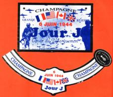 étiquette + Collerette De Champagne Brut 6 Juin 1944 Jour J Cuvée Du Débarquement Pierre Mignon à Le Breuil - 75 Cl - Champagne