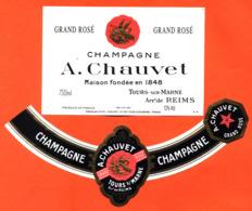 étiquette + Collerette De Champagne Brut Grand Rosé A Chauvet à Tours Sur Marne - 75 Cl - Champagne