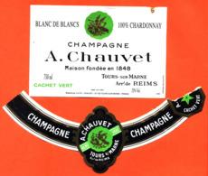 étiquette + Collerette De Champagne Brut Blanc De Blancs Cachet Vert A Chauvet à Tours Sur Marne - 75 Cl - Champagne
