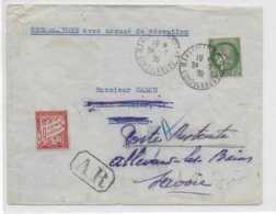 1939 - CERES TYPE 1938 - ENV. RECO AR De MARSEILLE => MARSEILLE READRESSEE POSTE RESTANTE ALLEVARD (SAVOIE) Avec TAXE - Storia Postale