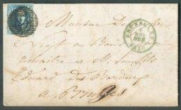N°4  Médaillon 20 Centimes Bleu, TB Margé, Superbe Oblitération P.24 Idéalement Apposée Sur Lettre De BRUXELLES Le 6 Nov - 1849-1850 Médaillons (3/5)