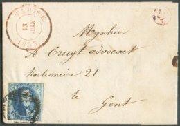 N°7 - Médaillon 20 Centimes Bleu, Obl. P.113 Sur Lettre De TAMISE Le 13 Juin 1853 + Boîte Q De RUPPELMONDE Vers Gand. - - 1851-1857 Medallones (6/8)