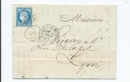 60A Sur Lettre De St Michel De Maurienne Pour Lyon 1872 Cachet Convoyeur Du Mont Cenis - 1849-1876: Classic Period