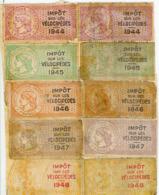 Impôt Sur Les Vélocipèdes Timbre Fiscal 10 Timbres De 1944 à 1948 - Historical Documents