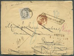 N°35 - 50 Centimes Gris, Obl. Sc LIEGE Sur Enveloppe Recommandé Du 14 Avril 1879 Vers Périnchy (Près De Lille-France), B - 1869-1883 Léopold II