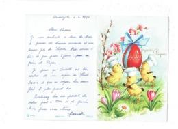 Double Cpm à Système Illustration J.L. -  Poussins Habillés Toque Cuisinier Oeuf De PAQUES - Fleur - Dressed Animals