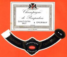 étiquette + Collerette De Champagne Brut De Pompadour à épernay - 75 Cl - Champagne