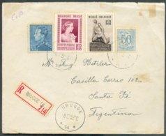 N°847A-854-860-864 Obl. Sc Agence BRUGGE 14 * S/L. Recommandée Du 8-2-1952 Vers Santa Fé (Argentine) + (verso) Vignette - Marcofilia