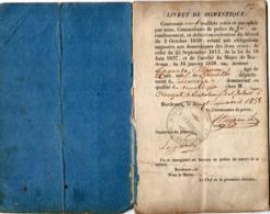 VP15.996 - MILITARIA - Commissaire De Police à BORDEAUX 1838 - Livret De Domestique Mr E.LAGARDE Né à NEUVILLE - Polizia