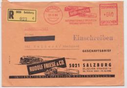 SALZBURG RUDOLF FRIESE LETTRE AUTRICHE ATM SLOGAN CAMION TRAIN ÖSTERREICH BRIEF TRUCK TRAIN AUSTRIA MAIL COVER 1966 - Camiones