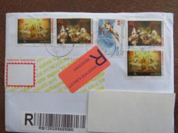 Macedonia, Registered Letter To Hungary, 1998, Stamps, Folk Art, Europa - Macedonia