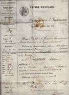 VP15.998 - Empire Français - BORDEAUX 1859 - Passeport à L'Intérieur - Mr E. LAGARDE Domestique Natif De NEUVILLE - Polizia