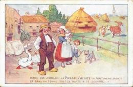 Publicité Potasse D'Alsace - Illustration Signée Ferme, Fermier, Fermière - Carte Non Circulée - Publicité