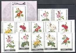 3212 ✅ Painting Art Flora Roses Blumen P.J.Redoute 1969 Ajman 6v+6v+S/s Set MNH ** 15ME Imperf Imp - Rosas