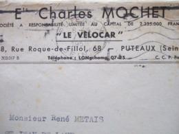 """92 - PUTEAUX - """" ENVELOPPE : Ets CHARLES MOCHET - """" LE VELOCAR """" -   ------ TRES RARE -------- - Puteaux"""
