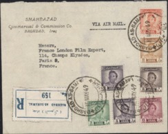 Lettre Recommandée Baghdad As Samawal YT Iraq Postage 156 157 158 X9 160 161 168 Roi Fayçal CAD 16 May 49 - Irak