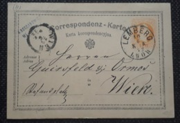 Postkarte 1872, LEMBERG - WIEN - Briefe U. Dokumente