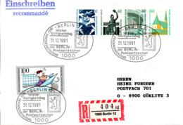 "(Bu-B3) BRD Sonderst.-Beleg ""Letzter Gültigkeitstag Der BERLIN-PWZ"" MiF WB Mi 871+1/2 MH-Bl.23 SSt.31.12.1991 BERLIN 12 - Storia Postale"