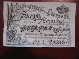 ETIQUETTE PAPIER - PARFUMERIE DE LA COURONNE - ROSA PAO DU JAPON - ALBERT SIANNES - PARIS - Format : 8,5 X 5,5 Cm - Etiquettes