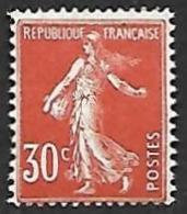 FRANCE  1922 - YT 160  - Semeuse  30c Rouge - NEUF* - Cote 8e - 1906-38 Sower - Cameo