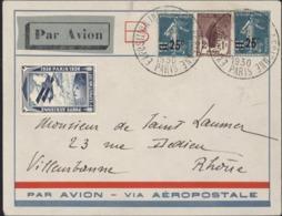 Par Avion Via Aéropostale Vignette Poste Aérienne 1930 YT 217 X2 229 Grand CAD Exposition Internationale Paris 6 11 1930 - Marcofilie (Brieven)