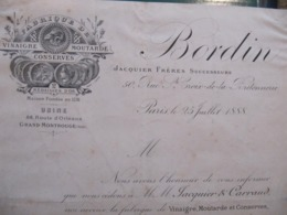 Lettre A Client - FABRIQUE DE VINAIGRE MOUTARDE - BORDIN - GRAND MONTROUGE - 1888 - Format : 21 X 27 Cm - 1800 – 1899