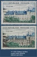 """FR Variétés YT 1255 """" Château De Blois """" 1960 Couleur Bistre Absente Murs Blancs - Variétés: 1950-59 Neufs"""