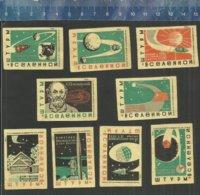 SPUTNIK SPACE DOG LAIKA ESPACE RUIMTEVAART ROCKET FUSEE RAKET SATELLITES URSS Matchbox Labels - Cajas De Cerillas - Etiquetas