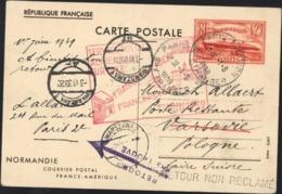Entier Normandie 1.25 Paris Aviation étranger 1 6 39 Cachet Service Postal Aérien Sans Surtaxe France Pologne Finlande - Storia Postale