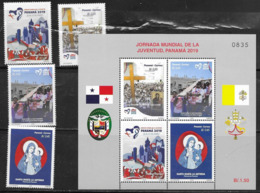PANAMA, 2019, MNH, WORLD YOUTH DAY, RELIGION, CHRISTIANITY, CROSS, 4v+SHEETLET - Kind & Jugend