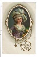 CPA-Carte Postale USA A Mery Chrismas Avec Une Jeune Femme  Et Son Chapeau En 1910 VM8353 - Weihnachten