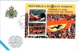 SAN MARINO 2001 - FERRARI CAMPIONE DEL MONDO  - FDC - FDC