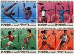 Ref. 6239 * NEW *  - PENRHYN . 1980. GAMES OF THE XXII OLYMPIAD. MOSCOW 1980. 22 JUEGOS OLIMPICOS VERANO MOSCU 1980 - Penrhyn