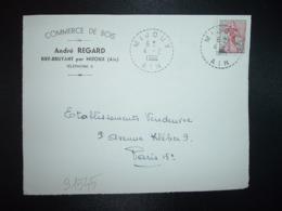 DEVANT TP M. A LA NEF 25F OBL. Tiretée 4-2 1960 MIJOUX AIN (01) COMMERCE DE BOIS André REGARD BIEF-BRUYANT - Poststempel (Briefe)