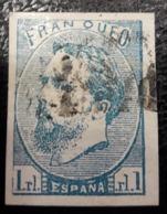 ESPAÑA.  EDIFIL 156 US.  1 REAL CARLISTA USADO.  DEFECTO, DOBLEZ HORIZONTAL. - 1873-74 Regentschaft