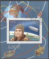 3122 ✅ Space Raumfahrt Gagarin Optd 1969 Ajman S/s CTO 60ME! - Espacio