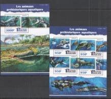 TG101 2015 TOGO TOGOLAISE FAUNA MARINE PREHISTORIC ANIMALS ANIMAUX AQUATIQUES KB+BL MNH - Postzegels