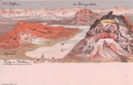 Emil Hansen, Surréalisme, Rigi Und Pilatus, Litho (Killinger 11) - Künstlerkarten