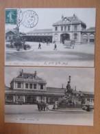 Vichy N°71 - La Gare / La Place De La Gare - 2 Cartes Animées, Une Circulée En 1907, L'autre Non-circulée - Vichy