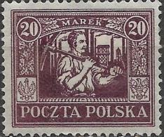 POLAND 1922 Silesian Miner - 20m - Purple MH - 1919-1939 Republic