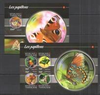 TG136 2015 TOGO TOGOLAISE INSECT BUTTERFLIES LES PAPILLONS KB+BL MNH - Butterflies