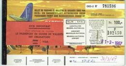 Ticket/Billet D'Avion. SABENA.   Brussels/Madrid/Brussels. 1967. - Billets D'embarquement D'avion