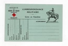 !!! PRIX FIXE : CARTE DE FRANCHISE MILITAIRE CROIX ROUGE COMITE D'ORLEANS NEUVE - Marcophilie (Lettres)