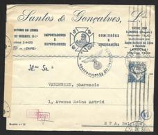 N° 543B Sur Lettre De Lisbonne?? Du 28-10-(42?) Vers Spa Bande GEÖFFNET Et Cachet Gepruft (Lot Nic 826) - Marcophilie