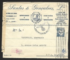 N° 543B Sur Lettre De Lisbonne?? Du 28-10-(42?) Vers Spa Bande GEÖFFNET Et Cachet Gepruft (Lot Nic 826) - Poststempel (Marcophilie)