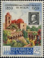 Ref. 267003 * HINGED *  - SAN MARINO . 1959. CENTENARY OF SICILY STAMPS. CENTENARIO DEL SELLO DE SICILIA - Nuevos