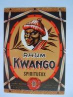 Etiket Etiquette Rhum Kwango Spiritueux Maison Desmet-Maertens Rumbeke - Rhum