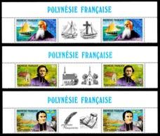 POLYNESIE 1987 - Yv. 292A à 294A (292 à 294 En Tryptiques) **   Faciale= 5,29 EUR - Missionnaires  ..Réf.POL24540 - French Polynesia