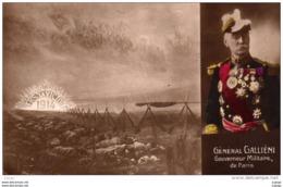 GUERRE 1914-18  GÉNÉRAL GALIENI Gouverneur Militaire De Paris. Carte écrite En 1914. Cachet Militaire. 2 Scans - Guerre 1914-18